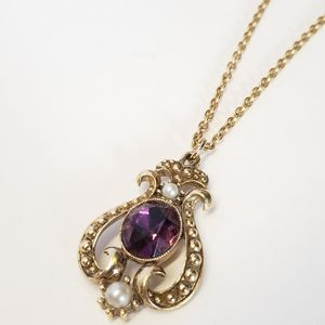 Gorgeous Vintage Avon Amethyst Crystal Necklace